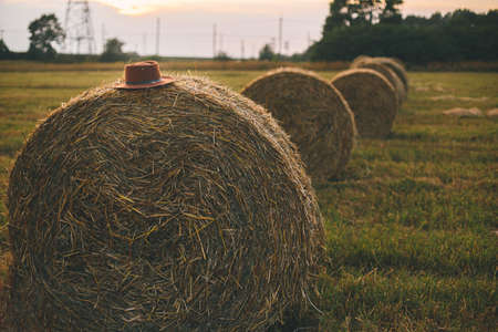 Hat on beautiful haystacks in sunset light in summer field. Summer in countryside, rural slow life. Harvesting and farming. Farmer's hat on hale bale. Atmospheric tranquil moment