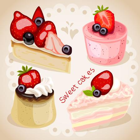 甘い食べ物: 甘い食べ物ケーキ ピンク背景イチゴ デザート
