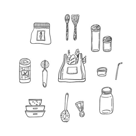 Set of reusable kitchen items isolated on white. Bamboo towels, eco bag, dish brush, glass jar, metal straw, lunch box, wooden spoon, spatula, tea globe infuser. Hand drawn vector illustration. Ilustración de vector