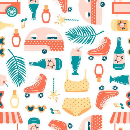 Summer vacation seamless pattern on white. Ice cream cart, palm leaf, sunglasses, musical notes, roller skates, milkshake, swimwear, sunscreen, lemonade. Flat cartoon  illustration.