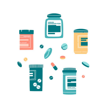 Set of different medicine jars, pills, capsules isolated on white. Hand drawn flat cartoon illustration.