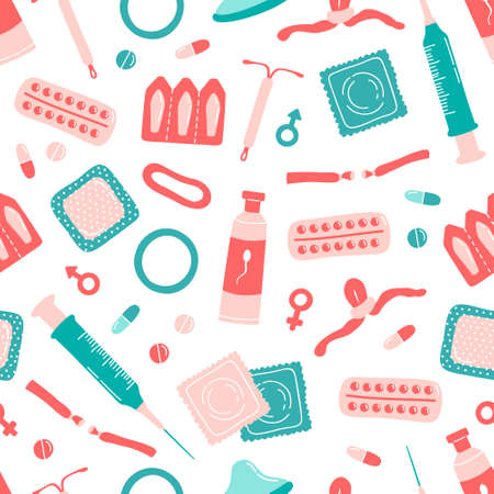 Seamless pattern with contraception methods items on white background. Hand drawn flat cartoon  background for pharmacy, label, hospital brochure, article, design. Pills, condom, ring and spermicide.