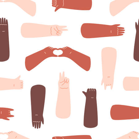 Different skin color hands, gestures seamless pattern on white. Flat  illustration in cartoon style.