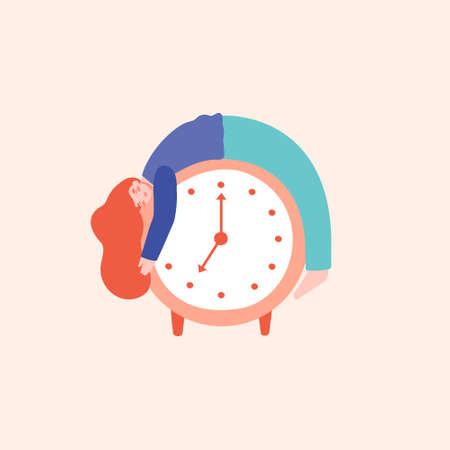 Young woman sleeping on the top of alarm clock, having trouble sleeping. Sleep disorders, night owls concept. Flat vector illustration in cartoon style. Illusztráció