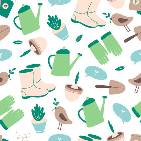 Gardening tools  seamless pattern in flat style. Spring concept of happy gardening. Gardener shoes, gloves, watering can, seeds, spade, bird.