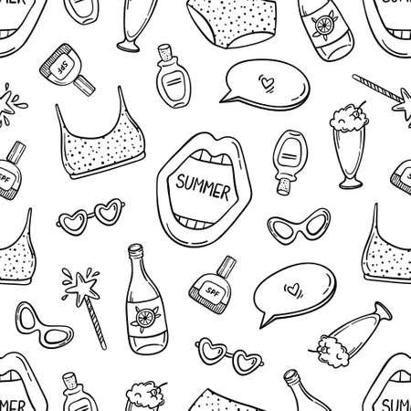 Black contour summer seamless pattern on white. Swimwear, open mouth, speech bubble, magic wand, sun screen, milkshake, lemonade, sunglasses, lettering.