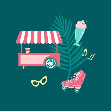 Summer entertainment set on colorful background. Cute ice cream cart, palm leaf, sunglasses, musical notes, roller skates, milkshake. Flat cartoon vector illustration.