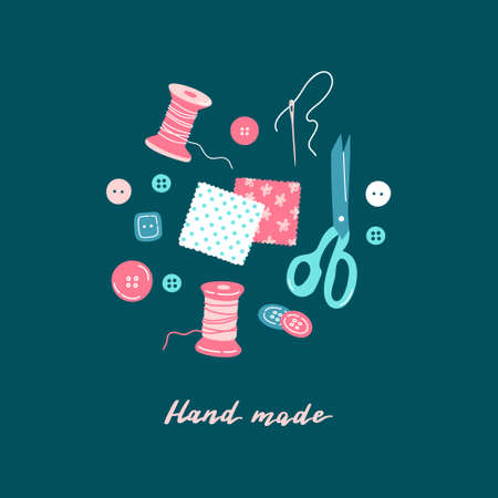 Sewing tools collection - threads, needle, textile patches, fabric flap, buttons, shears, scissors, lettering. Hand made concept. Cute hand drawn flat vector illustration isolated on colorful background.
