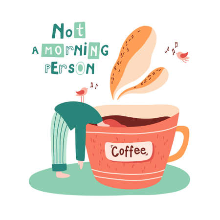 A girl submerging to a mug of hot coffee surrounded by chirping birds. Not a morning person concept. Sleep disorders. Hand drawn flat cartoon vector illustration.