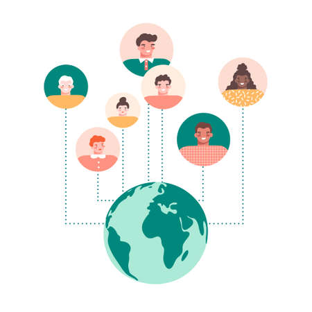 World globe and round avatars on white background. Social network, global cooperation, communication, connection around the world concept. Flat vector illustration in cartoon style. Ilustracja