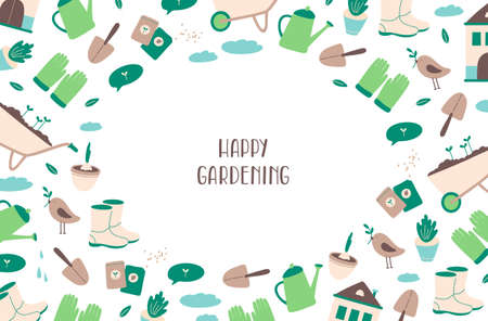Gardening tools oval frame on white background. Space for text background. Gardener shoes, gloves, watering can, seeds, spade, wheelbarrow, bird, clouds, bulb in flowerpot. Flat vector illustration.
