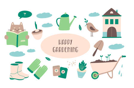 Collection of gardening tools for agricultural work, gardening or farming isolated on white background. Cat, gardener shoes, gloves, watering can, seeds, spade, wheelbarrow, bird, clouds, bulb in a flowerpot. Flat cartoon vector illustration.