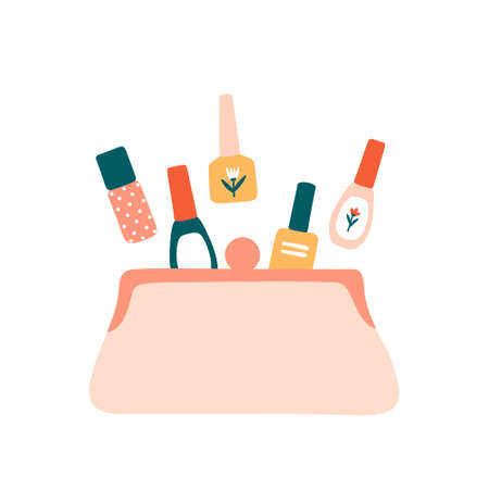 Composition with cosmetic bag and nail polish bottles inside isolated on white. Flat vector illustration in cartoon style.