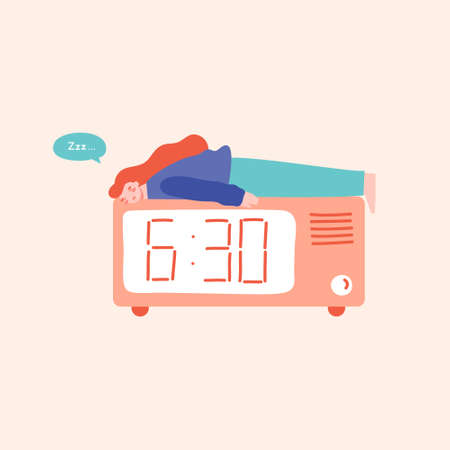 Young woman sleeping on the top of alarm clock, having trouble sleeping. Sleep disorders, night owls concept. Flat vector illustration in cartoon style. Illustration