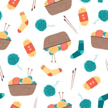 Colorful basket with yarn, knitting needles, socks seamless pattern on white. Flat  illustration in cartoon style. 向量圖像