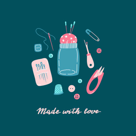 Set of sewing tools - machine needles, hand sewing needle, straight pins, thimble, buttons, seam ripper, safety pin, pincushion, lettering. Made with love, hobby tools concept. Flat vector illustration. Zdjęcie Seryjne - 150610525