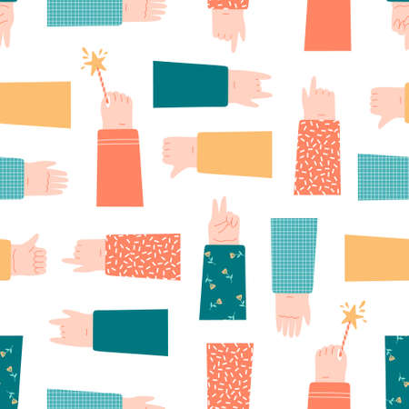 Hand pointing at something, holding sparklers, showing gestures seamless pattern on white.   Flat   illustration in cartoon style.