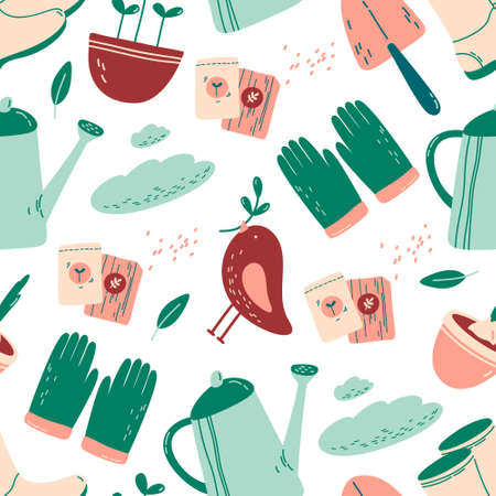Cute seamless pattern with gardening tools on white background. Gardener shoes, gloves, watering can, seeds, spade, bird, clouds, sprouts in a flowerpot.