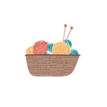 Hand drawn woven basket with yarn and knitting needles isolated on white. Various balls of yarn for knitting. Hobby, home activity concept. Flat vector illustration in cartoon style.