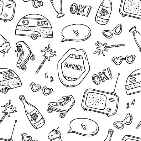 Black contour retro summer seamless pattern on white. Trailer, open mouth, speech bubble, magic wand, roller skates, radio, milkshake, lemonade, sunglasses. Vector illustration. Illusztráció
