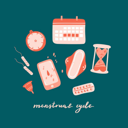 Set of cute decorative menstrual period elements and lettering isolated on colorful background. Items for tracking menstrual cycle - calendar, clock, application, phone. Flat cartoon vector illustration.