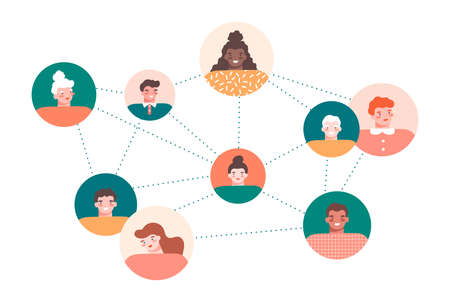 Group of different happy people communicating around the world on white background. Round avatars. Multinational society, networking, connections concept. Flat vector illustration. Illusztráció