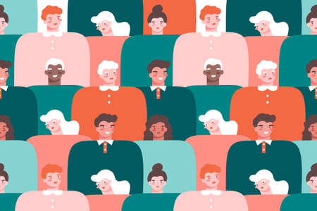 Multinational society colorful background. Portraits of young and old people. Flat vector illustration in cartoon style.