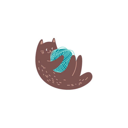 Cute brown cat playing with ball of yarn isolated on white. Domestic animal holding clew in paws, skein of thread. Flat vector illustration in cartoon style. Illusztráció