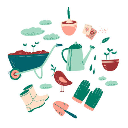Collection of gardening tools for agricultural work, gardening or farming isolated on white background. Gardener shoes, gloves, watering can, seeds, spade, wheelbarrow, bird, bulb in a flowerpot. Flat cartoon vector illustration.