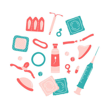 Set of contraception methods items - contraceptive patch, hormonal ring, intrauterine device, injection, pills, diaphragm, male condom, spermicides, surgical sterilization, emergency contraceptive.