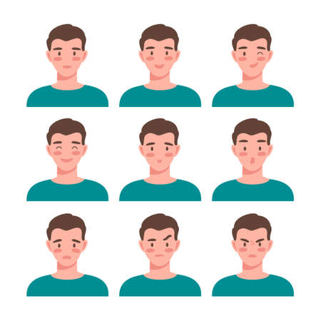Young man expressing positive and negative emotions vector illustration. Male portrait isolated on white. Aggression, fear, happiness, enjoyment, delight, depression, furious, confusion, contempt. Ilustração