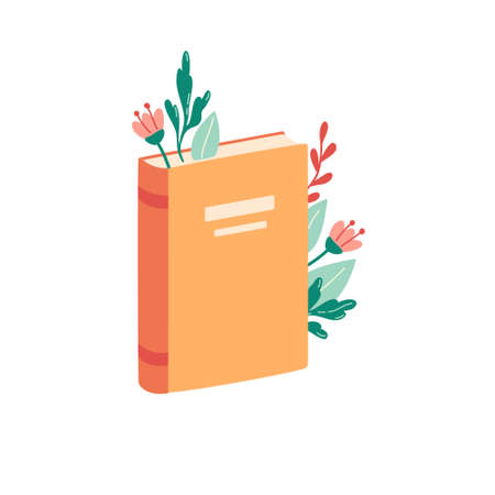 Flowers and leaves between pages of book isolated on white background. Reading, spring, world book day concept. Vector illustration.