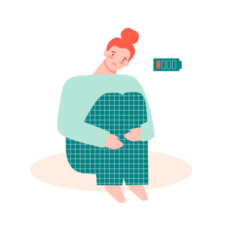 Unhappy, exhausted young woman sitting down and holding her legs. Burnout, depression concept. Flat vector illustration in cartoon style. Иллюстрация