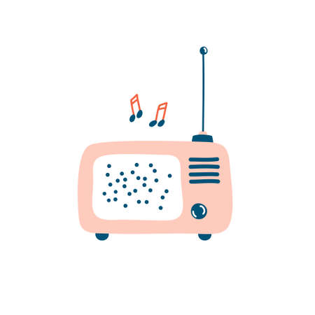 Colorful retro radio isolated on white. Flat cartoon vector illustration. Hand drawn icon, decorative element, sticker, label.