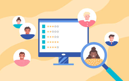 Round employee avatars, monitor displays candidate ratings with gold stars. Magnifying glass focused on african american woman. Colorful background. Resume review, CV assessment. Vector illustration.