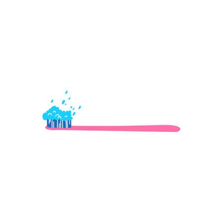 Colorful tooth brush with tooth paste and abstract elements isolated on white background. Hand drawn vector illustration in cartoon style. Healthy teeth, tooth decay prevention concept. Decorative design element.
