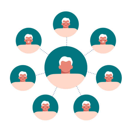 Set of round avatars with old age man expressing different emotions on white. Moody person, mental, bipolar disorder concept. Flat cartoon vector illustration.