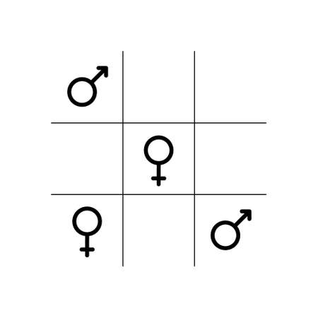 Editable stroke Mars and Venus. Tic tac toe game with gender symbols in linear style isolated on white background. Gender equality concept.