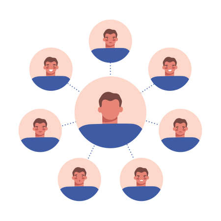 Set of different human emotions with round male avatars on white. Moody person, mental, bipolar disorder concept. Flat cartoon vector illustration.