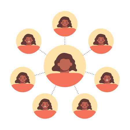 Set of different human emotions with round female avatars on white. Moody person, mental, bipolar disorder concept. Flat cartoon vector illustration. Vecteurs