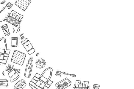 Reusable kitchen items on white copy space background. Detergent bottle, beeswax wrap, shopping bag, brush, sponge, snack bag, stainless water bottle, bamboo cutlery set. Contour vector illustration.