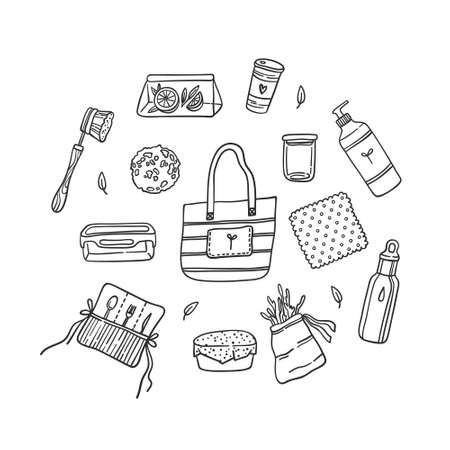 Set of reusable kitchen items isolated on white. Detergent bottle, beeswax wrap, shopping bag, brush, sponge, snack bag, stainless water bottle, bamboo cutlery set. Contour vector illustration. Vektoros illusztráció