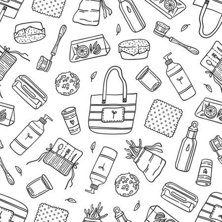Reusable kitchen products and supplies seamless pattern on white. Detergent bottle, bowl cover, shopper, brush, sponge, stainless water bottle, bamboo cutlery set. Black contour vector illustration.