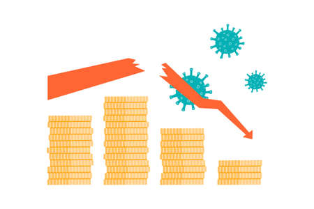 Stack of coins, broken arrow, model of coronavirus on white. Economic, financial crisis, business failure, crash during pandemic, covid. Colorful flat vector illustration.