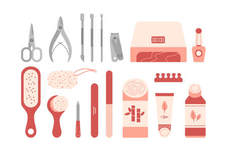 Colorful manicure and pedicure tools, hygiene and cosmetic products for nail care isolated on white. Flat cartoon vector illustration. Illusztráció