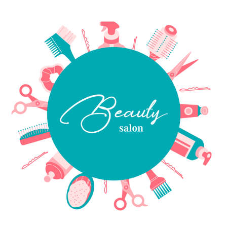 Colorful hairdresser tools and accessories, circle with text. Beauty salon quote. Round composition. Place for text background. Flat vector illustration in cartoon style. Stock fotó - 155367943