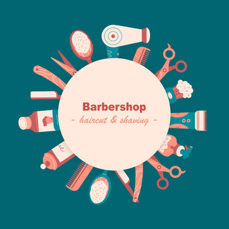 Label or card with colorful barber tools, hygiene products for hair. Round composition with circle, text in the middle. Place for text. Flat vector illustration in cartoon style. Stock fotó - 155368149