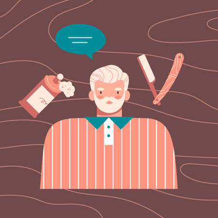Senior man with beard at barbershop, hairdresser getting haircut. Straight razor, shaving foam, speech bubble on wooden background. Colorful flat cartoon vector illustration.