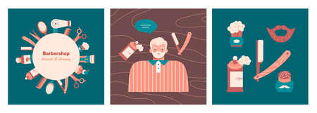 Set of three card with old man, barber tools, hygiene products. Barbershop elements design. Flat vector illustration in cartoon style. Stock fotó - 155368260
