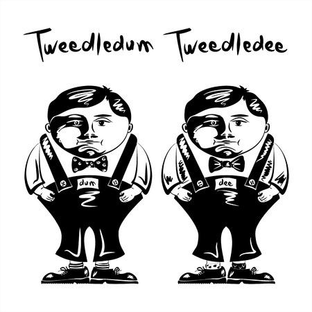 トゥィードルダムとトゥィードルディー  イラスト・ベクター素材
